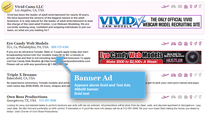 Bold Ad: Appears above Text ads, Bold text, No banner.