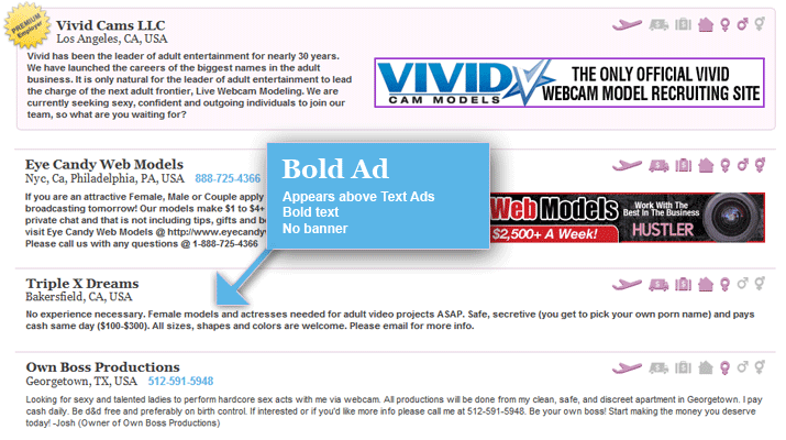 Banner Ad: Appears above Bold and Text ads, 468x60 banner, Bold text.